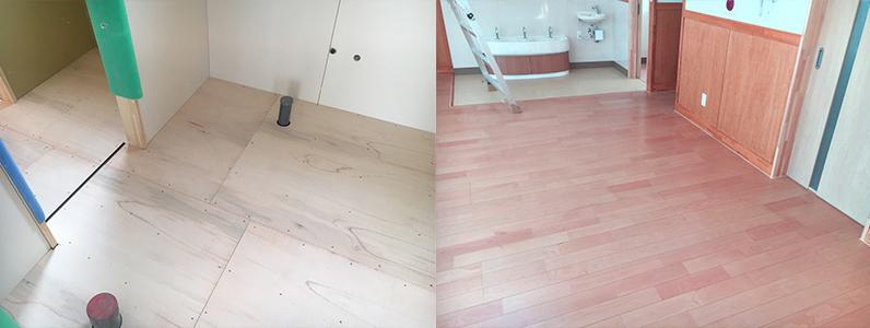 保育園未満児室増築工事、置床・乾式二重床及び捨て貼り、フローリング根太張り施工完了