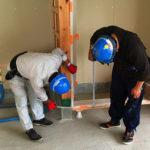 保育園新築工事、置床・乾式二重床、発泡ビーズ泡ポリスチレンフォーム、フローリング直貼り、根太張り工事
