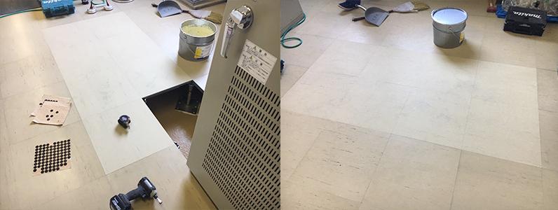 浄水場機械室OAフロア部分交換施工、既存OAパネル交換作業