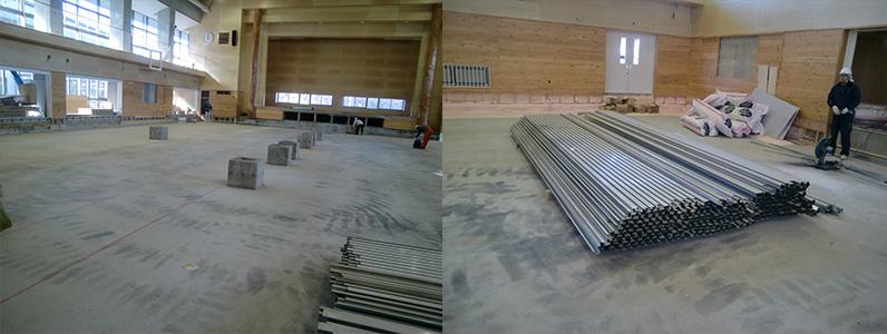 統合集学校体育館新築工事、鋼製床下地組み、フローリングフロア特殊張り施工前