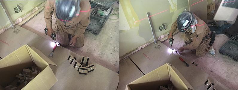 置床・乾式二重床レベル調整作業