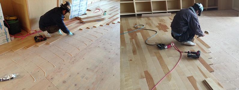 統合中学校新築工事、フローリング捨て貼り釘打ち施工状況