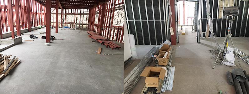 医院新築に伴う置床・乾式二重床及びOAフロア施工前