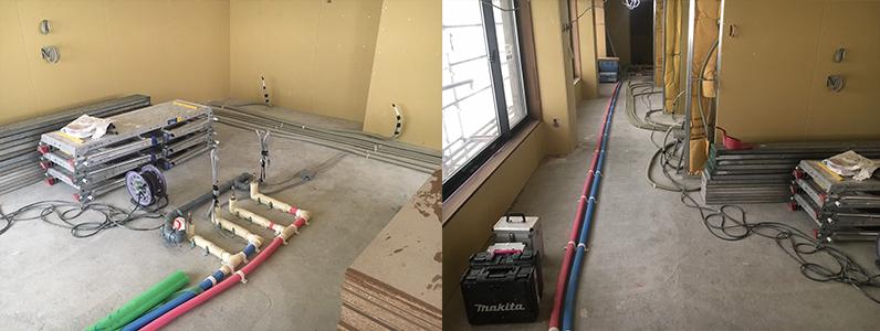 ゲストハウス新築工事、置床・乾式二重床、ダミー合板、捨て貼り、フローリング根太張り施工前