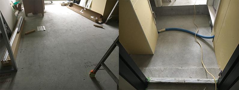 ホテル新築工事、置床・乾式二重床施工前