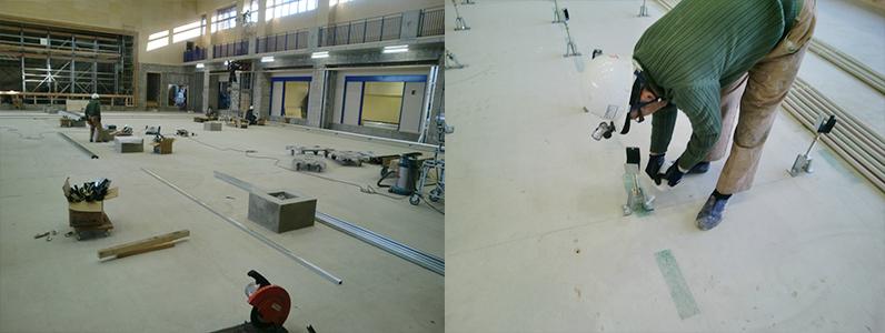体育館組床式鋼製床下地支持脚調整