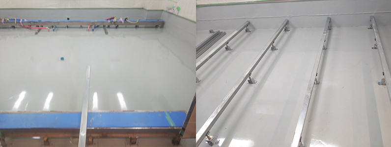 院内、組床式鋼製床下地施工支持脚大引設置