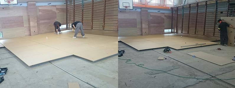 鋼製床下地置床式パネル設置施工