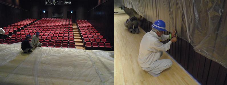 多目的ホールステージサンディング施工