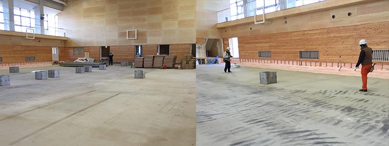 体育館組床タイプ鋼製床下地及び大型積層フローリング特殊貼り施工前