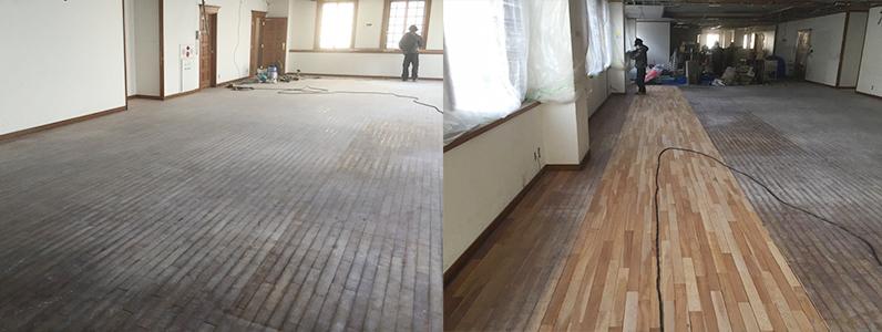 食堂ホールフローリング、サンディング再生施工状況