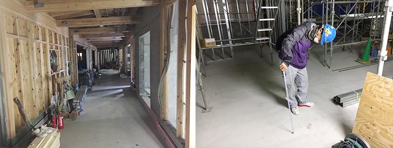 保育園第2期新築工事、置床・乾式二重床、フローリング釘打ち施工前