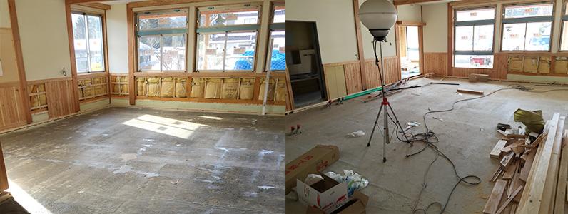 保育園新築工事、床暖房廻りダミー合板、フローリング釘打ち施工前