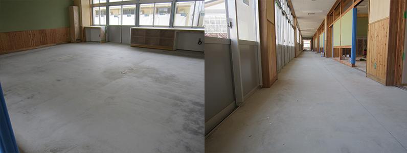 中学校新築工事、フローリング直貼り施工前