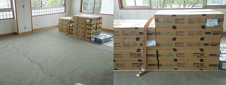 カーペット床改修工事、フローリング直貼り施工前