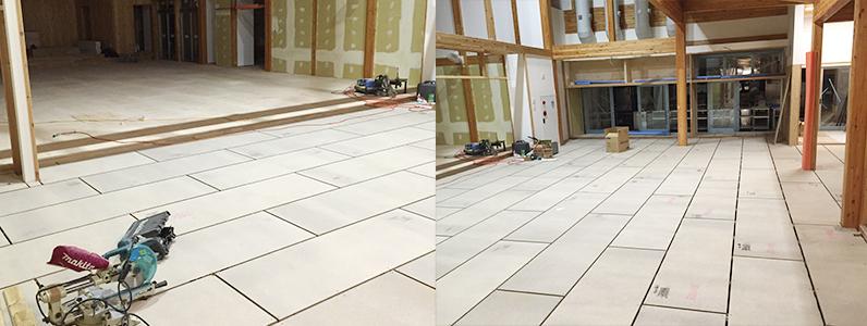 中学校新築工事に伴う置床・乾式二重床施工