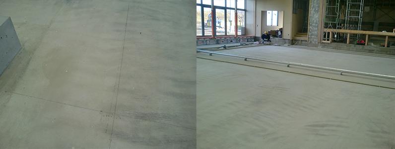 体育館新設に伴う鋼製床下地組み施工前