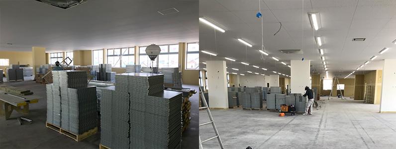工場改修工事、OAフロア、スロープ框施工前材料搬入