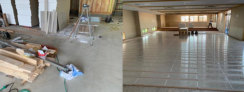保育園多目的棟新築工事、床暖房廻りダミー捨て貼り、フローリング根太張り施工前