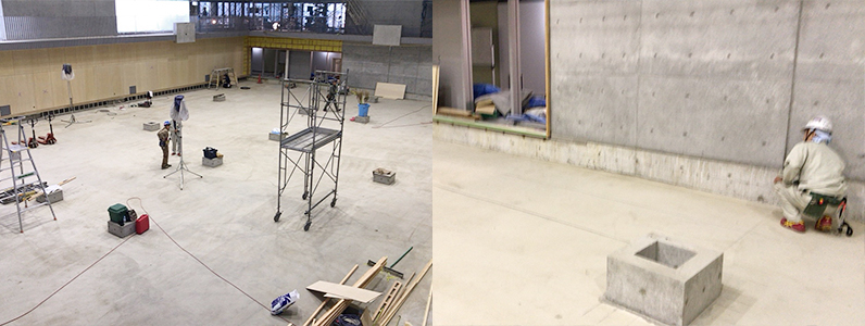 大学キャンパス内体育館新設工事に伴う鋼製床下地及びスポーツフロア施工前