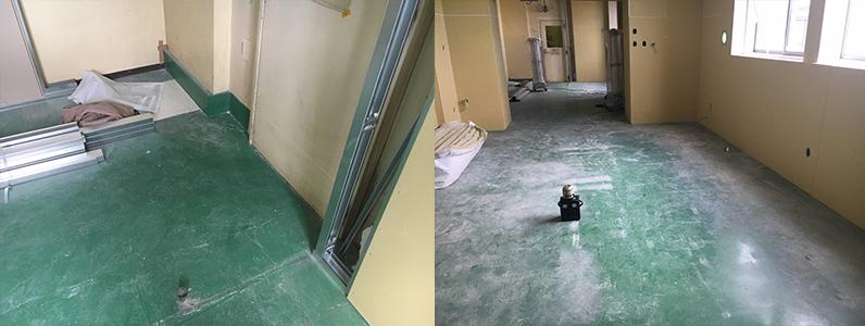 工場内事務所改修工事、既存塗床上置床・乾式二重床施工前