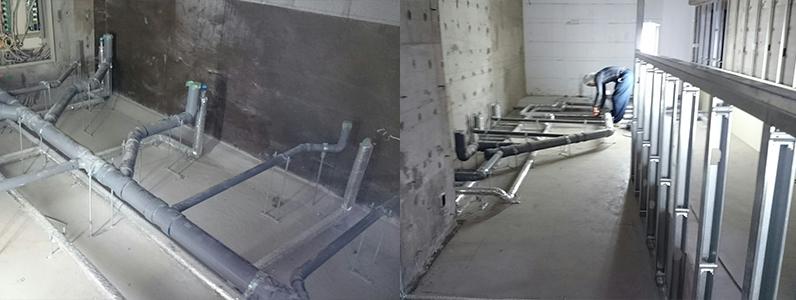センター内室内及び廊下スロープ鋼製床下地組み施工状況