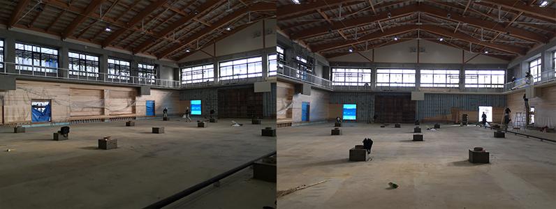 体育館床改修工事、組床式鋼製床下地及びスポーツフロア施工前