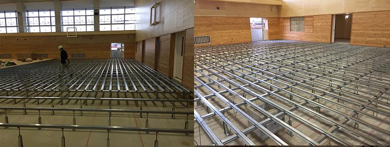 統合集学校体育館新築工事、鋼製床下地大引き、ネダ組み
