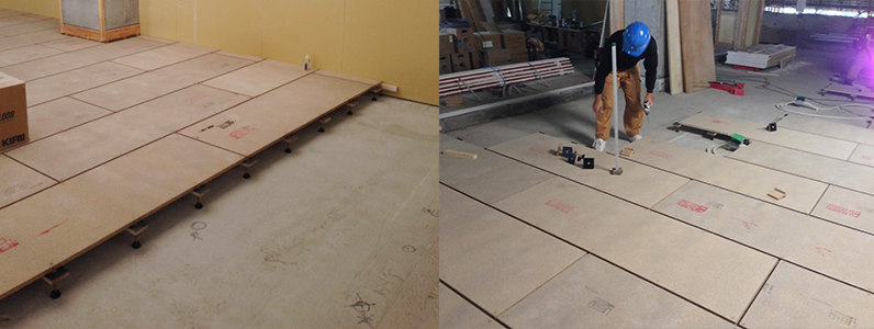 小中統合学校新築工事、置床・乾式二重床施工パーチクルボード設置