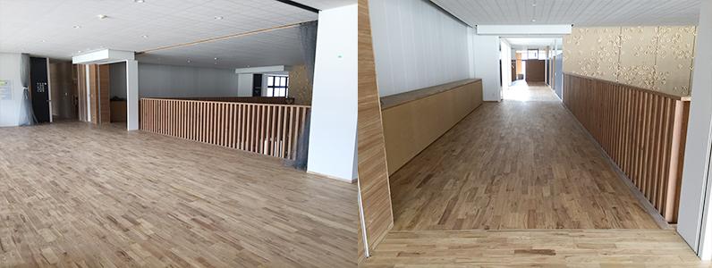 第3中学校新設工事、フローリング根太張り施工