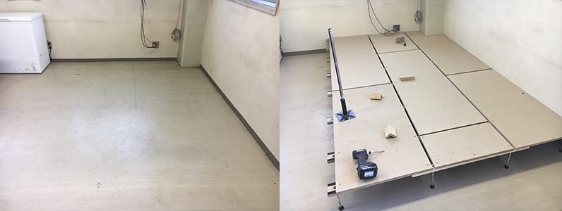 ドラッグストア従業員休憩スペースへの置床・乾式二重床、支持脚パーチクルボード施工