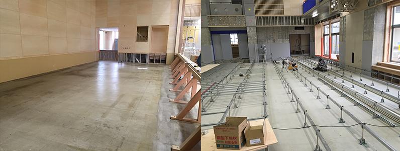 体育館改修工事、組床式鋼製床下地施工