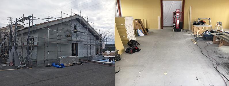 高等学校学生寮増築工事、置床・乾式二重床施工前