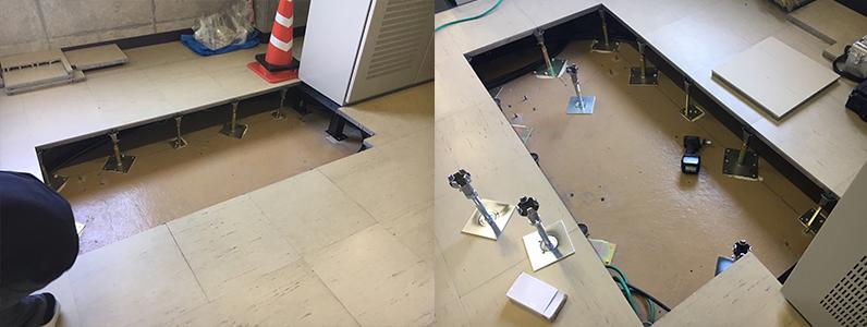浄水場機械室OAフロア部分交換施工、既存OAパネル撤去