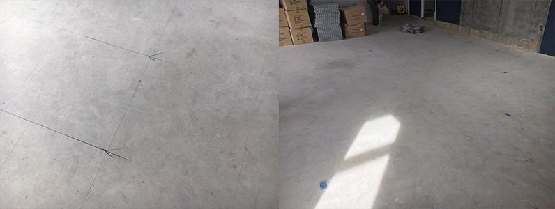 OAフロア施工前のコンクリートスラブ