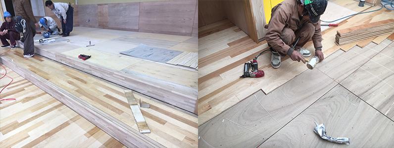 保育園第2期新築工事、置床・乾式二重床、フローリング釘打ち施工状況