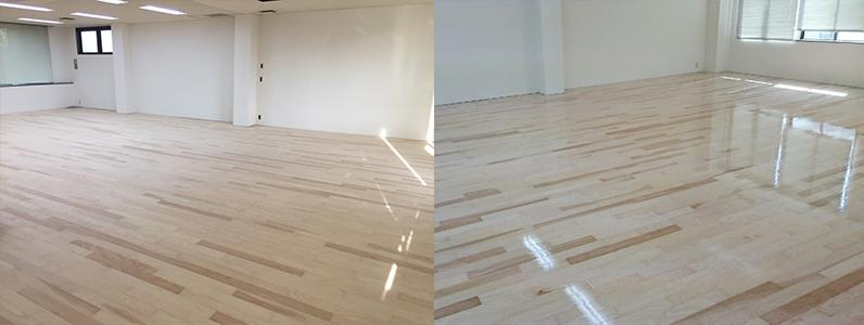 テナントダンススタジオ改修工事、置床・乾式二重床、フローリング根太張り、ダンスフロア用コーティング完了