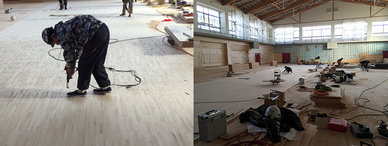体育館床改修工事、組床式鋼製床下地、スポーツフロアフローリング特殊貼り