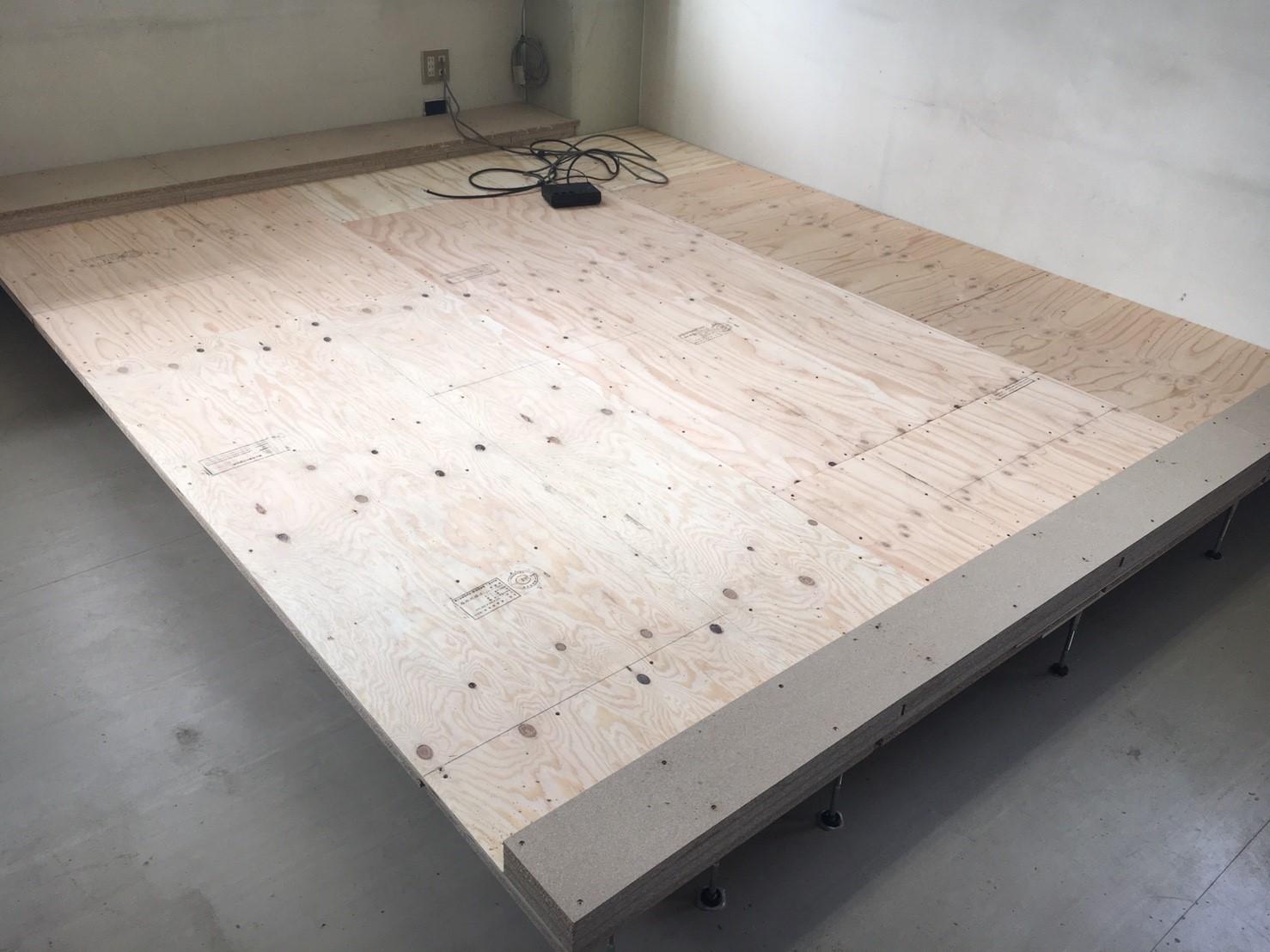 ドラッグストア従業員休憩スペースへの置床・乾式二重床工事
