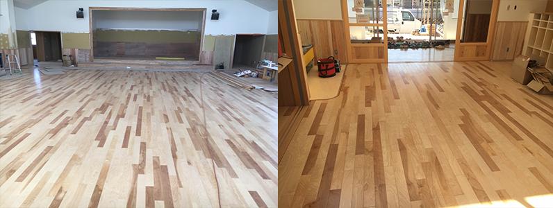 保育園第2期新築工事、置床・乾式二重床、フローリング釘打ち施工完了