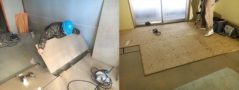 企業様新社屋床下地完了後針葉樹合板捨て貼り作業