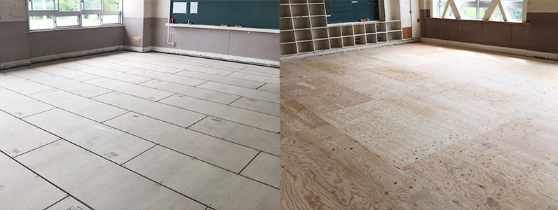 中学校改修工事、置床・乾式二重床施工、捨て貼り