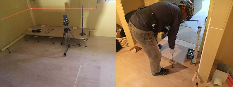 ホテル新築工事、置床・乾式二重床レベル調整作業