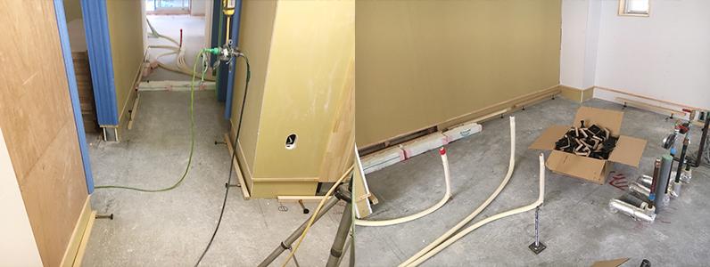 医院新築に伴う置床・乾式二重床際根太取付け作業