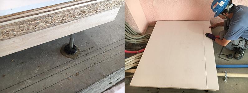 ゲストハウス新築工事、置床・乾式二重床際根太施工