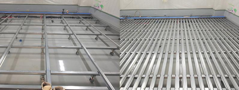 院内、組床式鋼製床下地施工支持脚ネダ設置