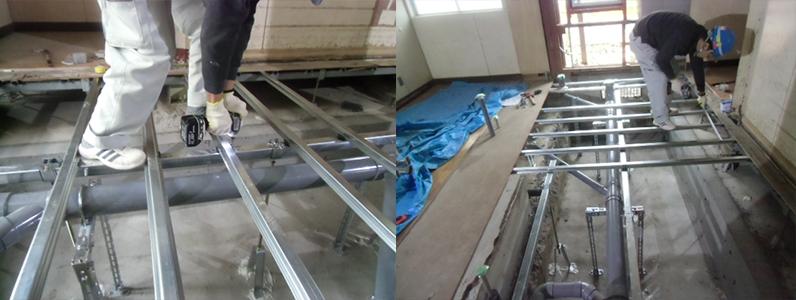 エントランス及び通路、三洋工業組床式鋼製床下地施工