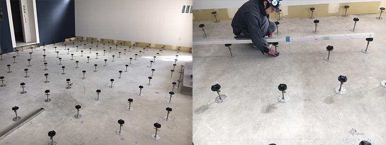 OAフロアパネル設置準備支持脚レベル調整作業
