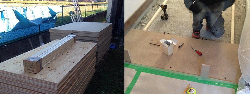 保育園床改修工事、置床・乾式二重床パーチクルボード施工