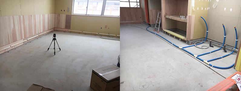 保育園第2期新築工事、教室、遊戯室、保育室、床施工前
